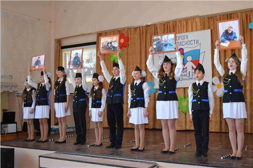 Торжественный марш отрядов ЮИД в честь 80-летия образования службы ГАИ-ГИБДД.